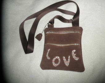 """annie"" Chocolate Suede leather bag love"