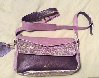 Purple and gold leather bag