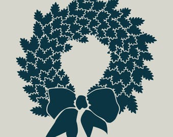 Crown of leaves. Christmas decoration. (Ref 160) adhesive vinyl stencil