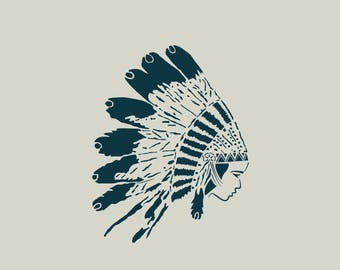 Indian stencil. Indian headdress stencil. Stenciled feathers (ref 461)