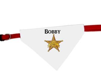 Necklace personalized with name Sheriff star dog bandana