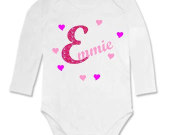 Bodysuit baby glitter initial and hearts personalized with name