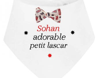 Adorable little man personalized with name baby bandana bib