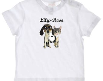 tee shirt baby dog and cat personalized with name
