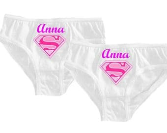 Set of 2 girl panties white supergirl personalized with name