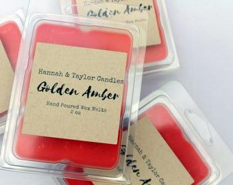 Golden Amber Soy Wax Melt | Oakmoss Amber Scented Handmade Wax Tart | Amber Musk Candle | Norwegian Woods Fall Scent | Oakmoss Amber Scent