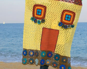 House by the sea-shaped House baby blanket, crochet, wool blend
