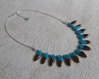 art deco glass fusettes bib necklace and Blue Crystal bronze - KC567