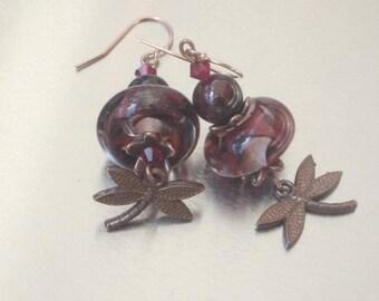 Earrings: Copper Dragonfly - Lampwork - Garnet