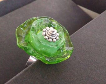 Glass Apple flower ring