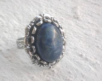 """Lapis lazuli"" ring worked backed"