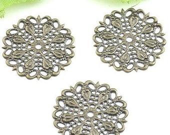 10 pretty prints filigree bronze 25mm