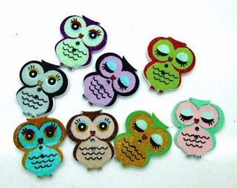 10 owls mix colors thin 21 * 18mm wooden buttons
