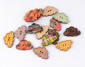10 buttons clouds decorated wood mix colors and patterns 19 * 30 mm