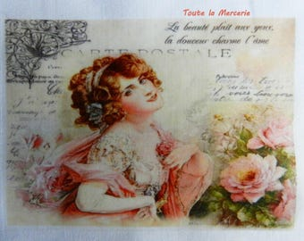 transfer 129. set of textile transfer: beautiful lady STYLE SHABBY, VINTAGE