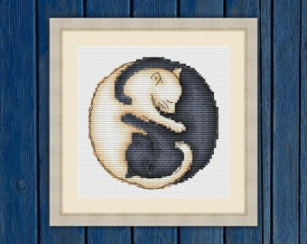 Catlike yin-yang - cross stitch pattern Instant Download PDF