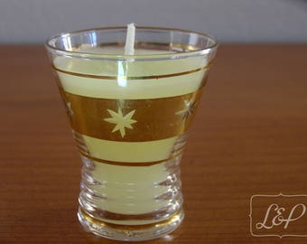Candle holder with candle casting n3 Vintage shot glass in