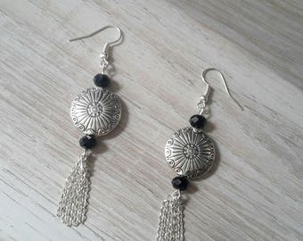 Silver earrings, faceted beads