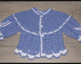 top blue lavender and white crochet