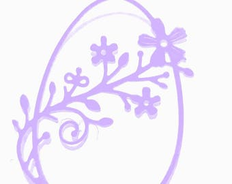 Cut Easter egg with flowers scrapbooking