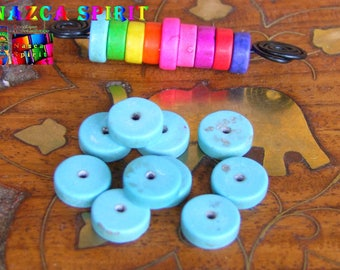 20 wheels dyed Howlite beads 10 mm to ∅ Turquoise Blue / thickness: 3 mm