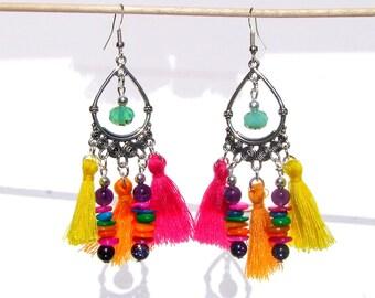 Dangle earrings Native American inspired Peru in Amethyst with Pearl and tassel