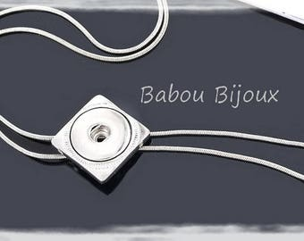 Beautiful silver tone interchangeable snap necklace