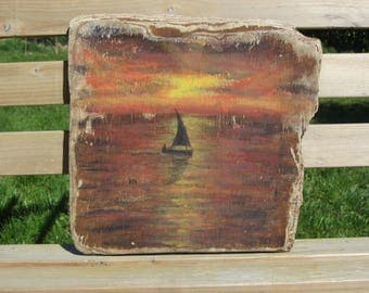 acrylic painting on Driftwood N1