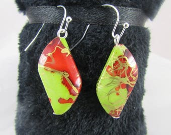 Earring hook - green/red/gold acrylic bead
