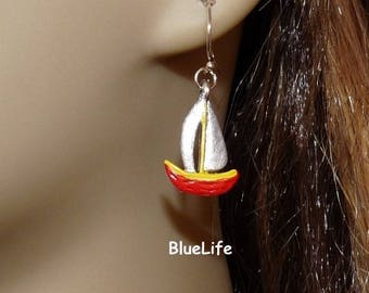 Red and yellow stems Catalan boat earrings silver Sterling boat nautical jewelry on etsy shop BlueLife creation