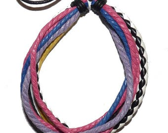 multi cotton string Friendship Bracelet colorful purple MULTISTRAND blue fuchsia and Black White Leather summer woman on etsy