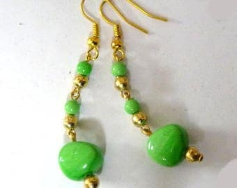 Green earrings Golden pearls hinged ceramic dangle earrings on etsy green jewelry for woman