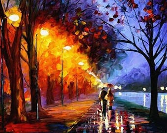 Adults Paint by Numbers Kit - Framed Canvas - 40x50cm - Romantic Walk Under Rain
