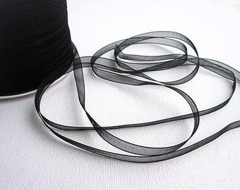 Sea 0130C: 4 meter 6mm black Organza Ribbon