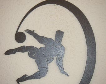 Soccer player in a crescent moon - shape frame