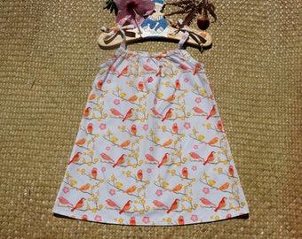 Organic pattern bird cotton strapless dress size 4 years