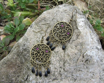 Earrings Bohemian spacer engraved bronze metal flowers, charms and purple rhinestone drops in black enamel