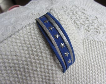 multi-row bracelet cuff Suede, leatherette, stars, blue hard and silver