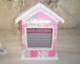 Box key light blue, white, pink and white shabby lace