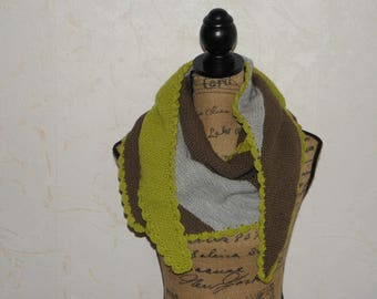 Trendy shawl / scarf / light green / taupe / grey REF. T08