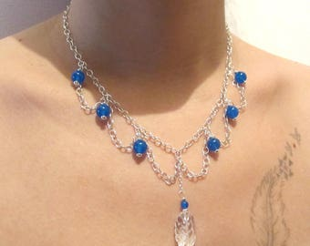 Leaf necklace in 925 Silver Blue agate and rock crystal