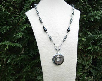 Necklace 925 Silver and hematite donut beads and drops