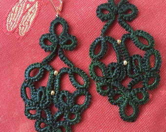 Bottle green cotton tatted lace earrings glass beads gold