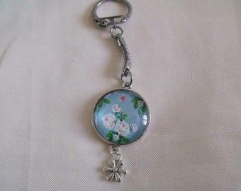 Blue floral cabochon silver keychain