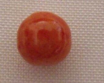 set of 5 glass beads round orange mottled 10mm