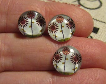 set of 3 glass cabochons 12mm tree theme