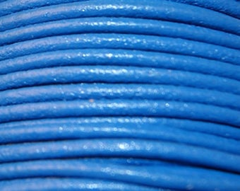 Leather thong 2 mm round blue sold by 20 cm