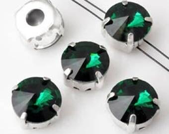 7 Séparateurs de métal avec verre cristal vert empire avec 2 trous 10x7 mm