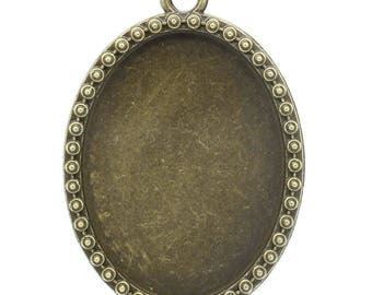 4 holders for Cabochon 4 x 3 cm metal bronze