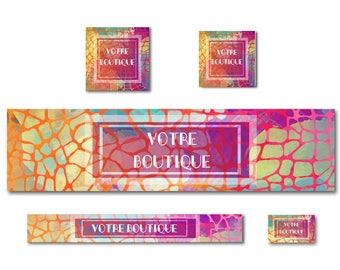 Multicolored mosaic banner for Etsy Shop